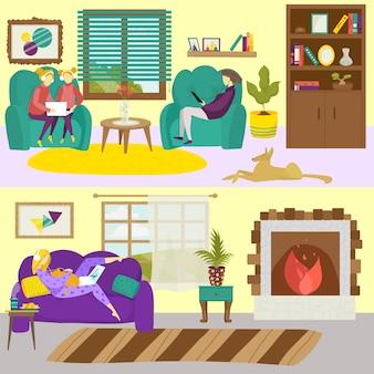 Interiore della stanza di casa con donna uomo persone chracter, illustrazione. set casa famiglia, persone felici in quarantena. seduto, lavoro, tempo libero in uno stile di vita moderno.