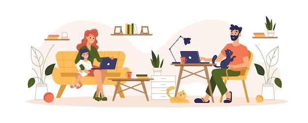 Home routine e lavoro freelance home office vettore piatto illustrazione madre e padre freelancer