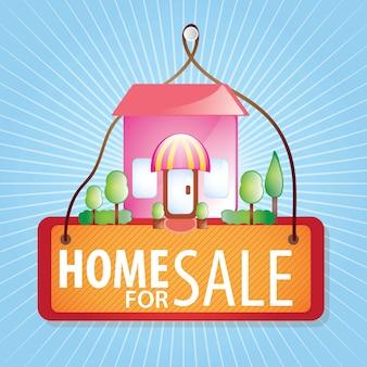 Casa in vendita su sfondo blu