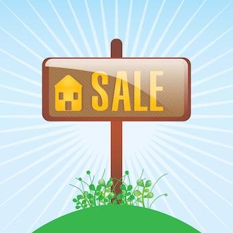 Casa per il cartello di vendita sopra l'illustrazione blu di vettore del fondo