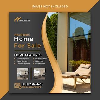 Casa in vendita post sui social media e modello di banner web