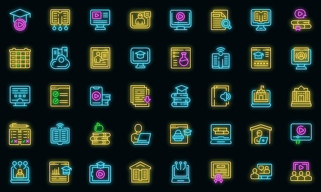 Le icone di scolarizzazione domestica impostano il vettore di contorno. borsa di studio di consulenza. risposta cloud del computer