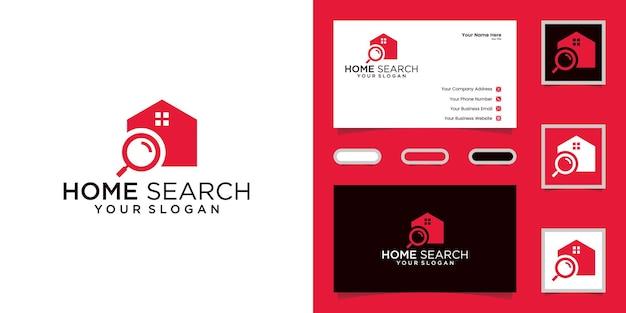 Home ricerca e lente d'ingrandimento modelli di design del logo immobiliare