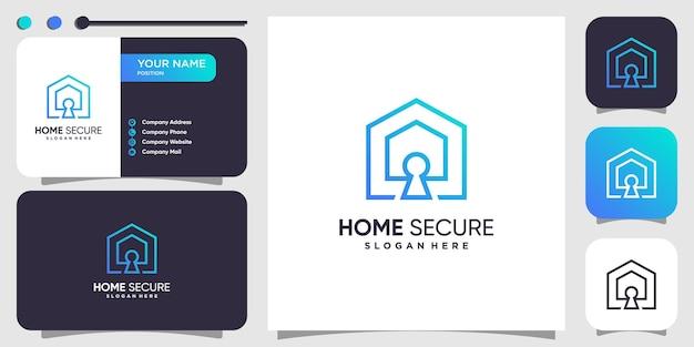 Concetto di logo sicuro per la casa con uno stile unico e moderno vettore premium