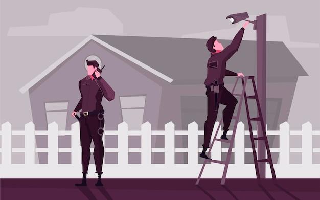 Illustrazione piana di sicurezza domestica con guardie che installano videocamere vicino a edificio residenziale