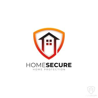 Logo di sicurezza domestica con il concetto di scudo domestico