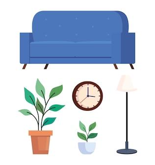 Home set icone tema di design, camera e decorazione