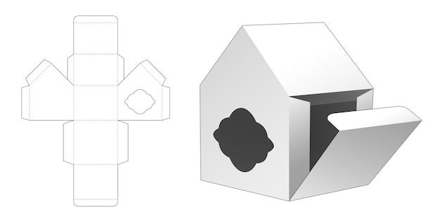 Scatola a forma di casa con sagoma di finestra fustellata
