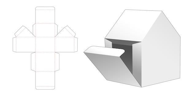 Scatola regalo a forma di casa con modello fustellato a punto di apertura laterale