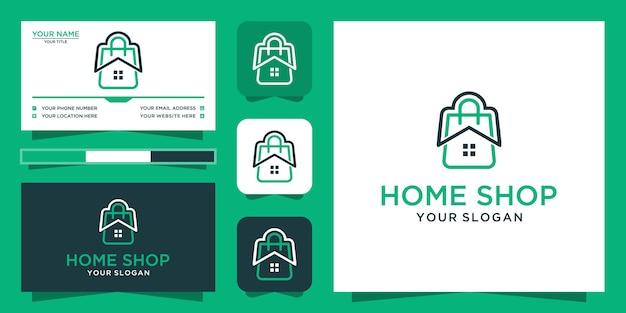 Design del logo del negozio di casa e biglietto da visita