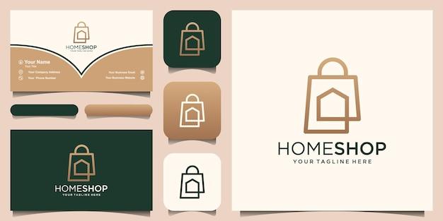 Home negozio logo design modello, borsa abbinata alla casa.