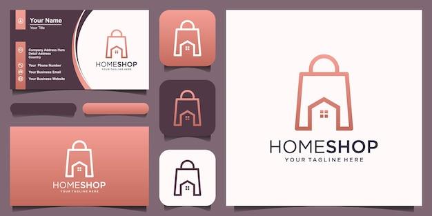 Home shop logo design modello, borsa abbinata a casa.