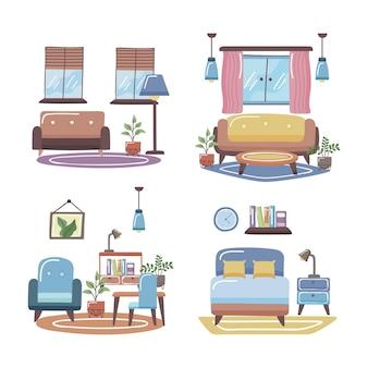 Collezione di icone di spazi domestici su sfondo bianco
