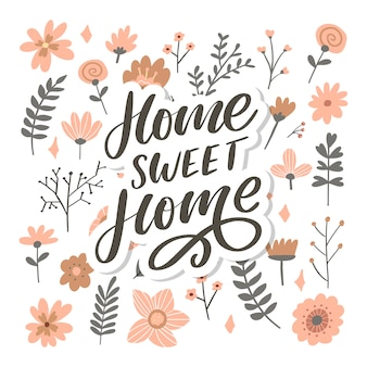 Scritte a mano 'home sweet home', quarantena pandemia slogan testo lettera