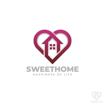 Modello di logo di casa dolce casa