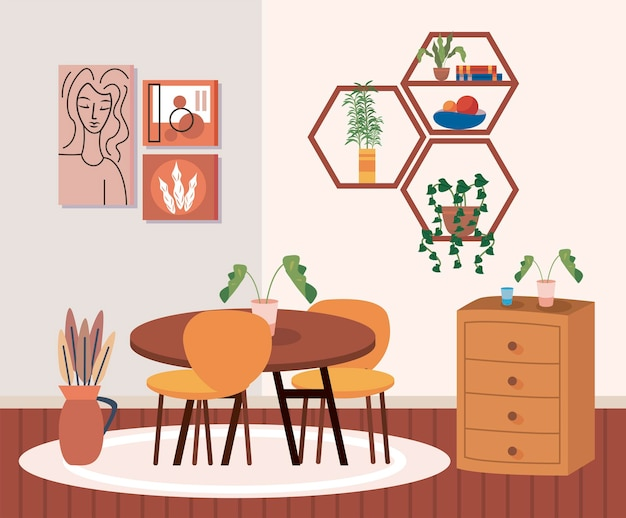 Tavolo da casa con sedie e mobili