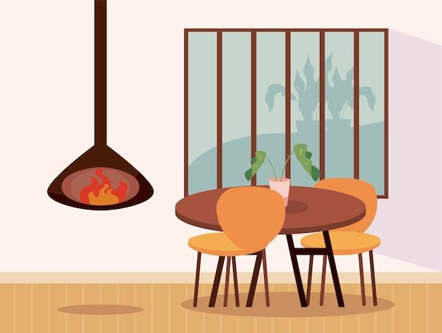 Tavolo da casa con sedie