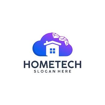 Tecnologia per la casa, cloud, ispirazione per il design del logo