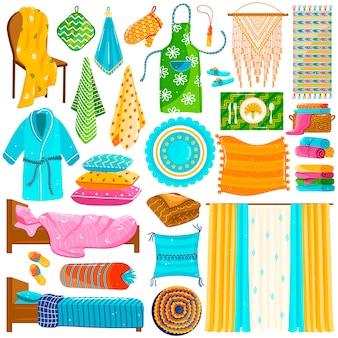 Raccolta domestica del tessuto, insieme dei panni domestici su bianco, raccolta del tessuto domestico, illustrazione