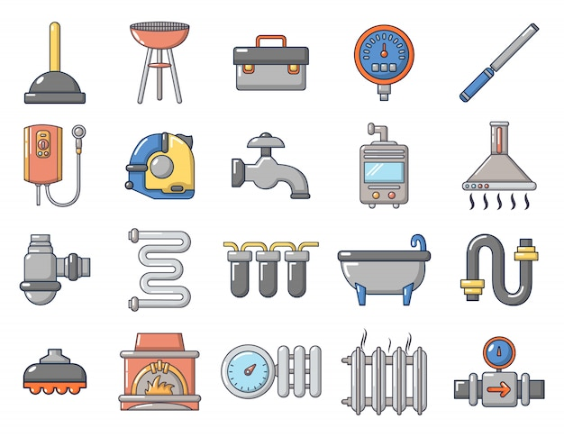 Set di icone di strumenti domestici. l'insieme del fumetto delle icone domestiche di vettore degli strumenti ha messo isolato
