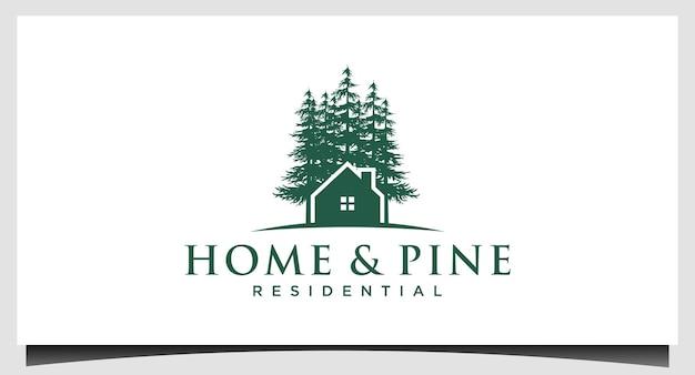 Casa e albero di pini, abete rosso, vettore di illustrazione di design di cedro
