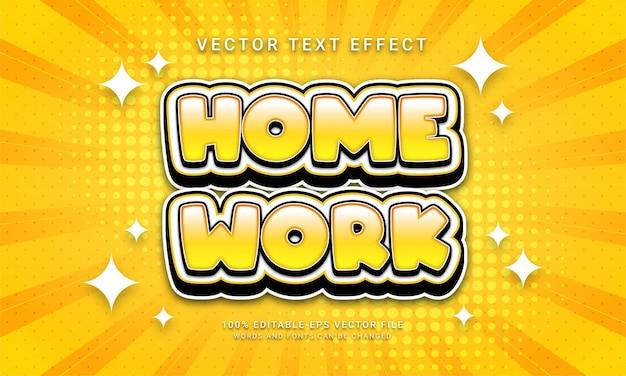 Effetto di testo modificabile per il lavoro a casa con tema educativo