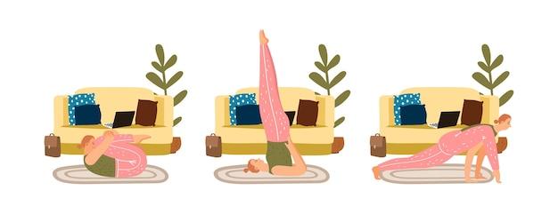 Allenamento a casa. ragazza che fa yoga a casa. esercizi sportivi, meditazione e concetto di vettore di stretching
