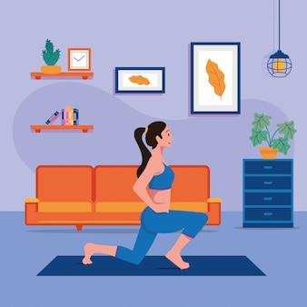 Vettore di salute delle donne di allenamento domestico