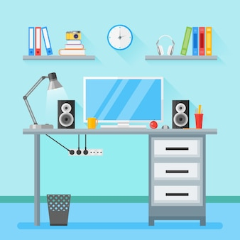 Spazio di lavoro domestico con oggetti, attrezzature in stile piatto.