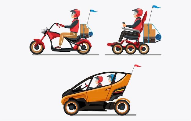 Persone che tornano a casa con veicoli moderni Vettore Premium