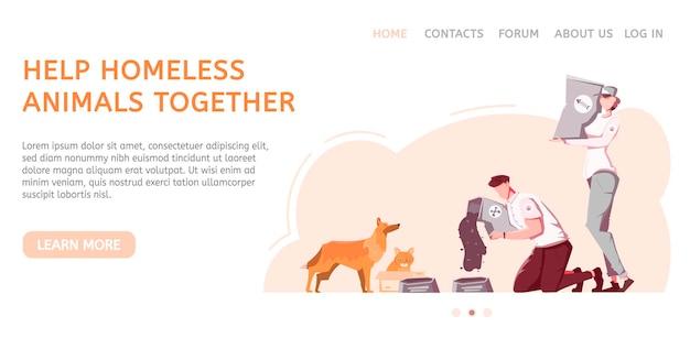 Layout del sito web di animali senzatetto con persone e animali domestici