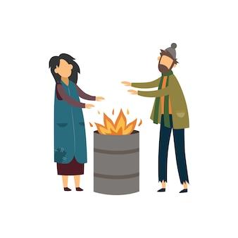 Coppia senzatetto di mendicanti riscaldamento con l'illustrazione del fuoco.