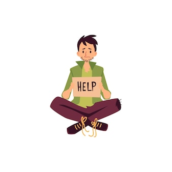 Senzatetto seduto a gambe incrociate e tenendo premuto aiuto chiedendo segno in stile cartone animato, isolato su sfondo bianco. povero mendicante maschio con cartello in cartone