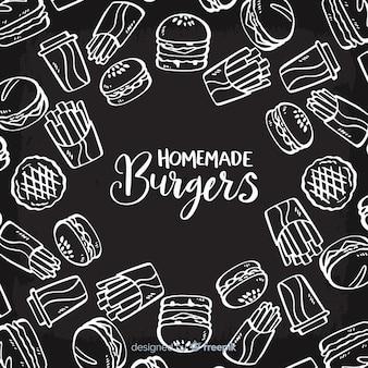 Sfondo di hamburger fatti in casa