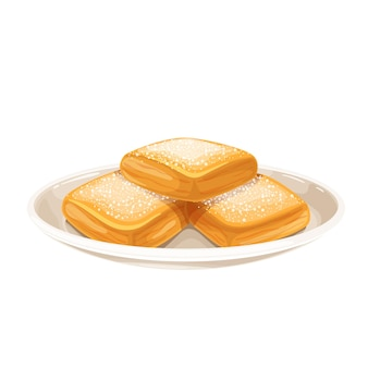 Ciambelle tradizionali casalinghe di new orleans sull'illustrazione del piatto.
