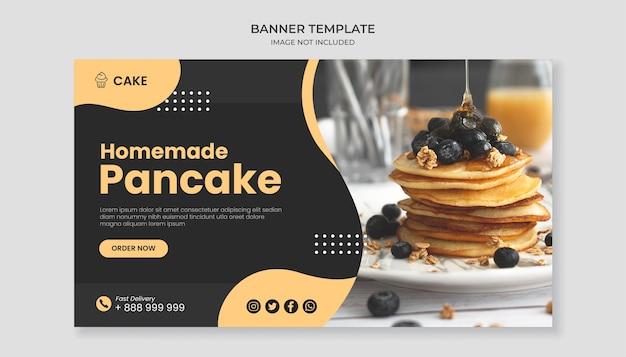 Modello di banner cibo pancake fatti in casa Vettore Premium