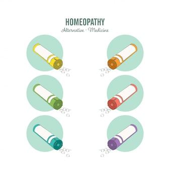 Set di linee di medicina omeopatica