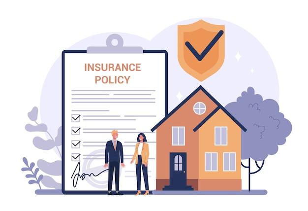 Concetto di assicurazione del proprietario di abitazione. idea di sicurezza e protezione della proprietà e della vita dai danni. sicurezza dai disastri naturali.