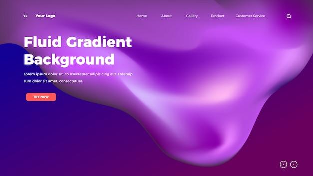 Homepage maglie di colore fluido sfondo. modello di pagina di destinazione con gradiente