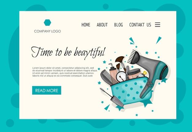 Modello di home page per saloni di bellezza, negozi di cosmetici. stile cartone animato. illustrazione vettoriale.