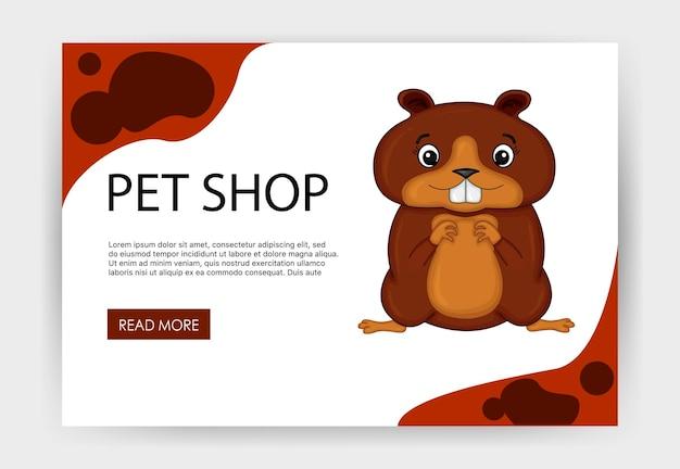 Modello di home page per il tuo sito con un simpatico criceto. stile cartone animato. illustrazione vettoriale.
