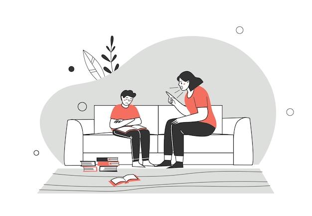 Istruzione domiciliare o istruzione domestica. una madre, un genitore rimprovera il figlio di suo figlio per le lezioni. difficoltà dell'istruzione domestica. illustrazione di vettore del carattere di stile piano