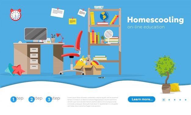 Homeschooling, piano di educazione domestica, concetto di tutor online homeschooling. modello di pagina web di atterraggio della homepage del sito web.