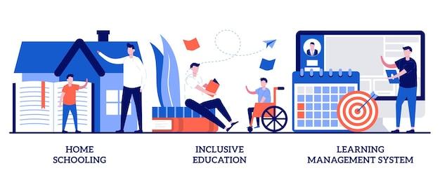 Homeschooling, istruzione inclusiva, concetto di sistema di gestione dell'apprendimento con persone minuscole. set di programmi scolastici privati. tutor online, piano individuale, metafora del dispositivo mobile.