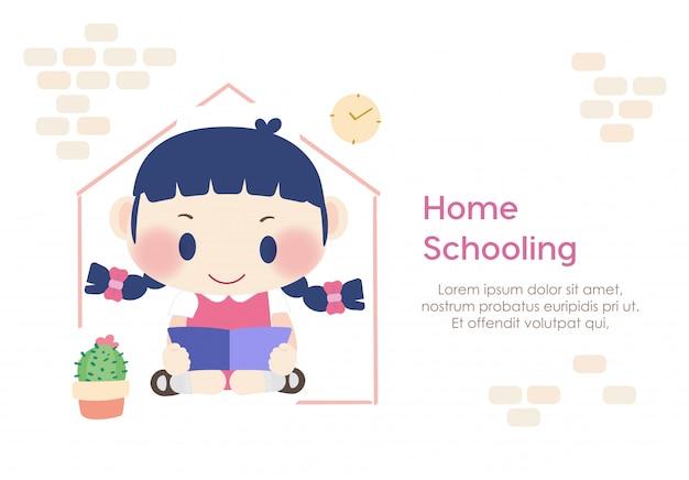 Studente homeschooling bambino lettura educazione apprendimento
