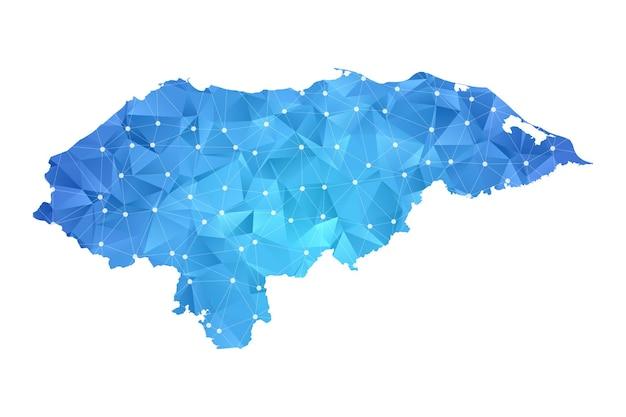 Honduras mappa linea punti geometrici astratti poligonali.