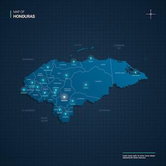Mappa dell'honduras con punti luce al neon blu - triangolo su gradiente blu scuro