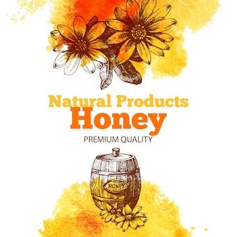 Sfondo miele con schizzo disegnato a mano e illustrazioni ad acquerello. menu e design della confezione