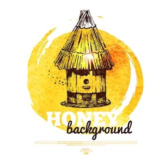 Banner di miele con schizzo disegnato a mano e illustrazione ad acquerello