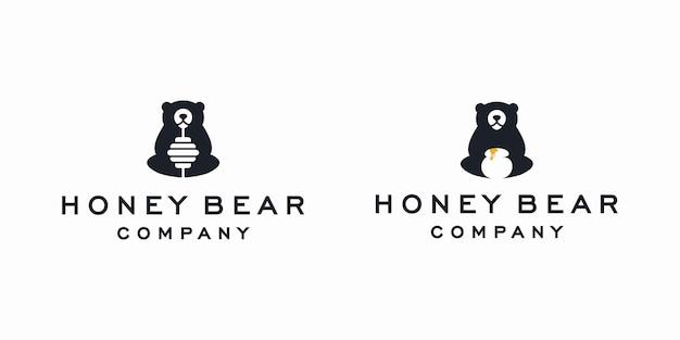 Illustrazione dell'icona di vettore del logo dell'orso del miele